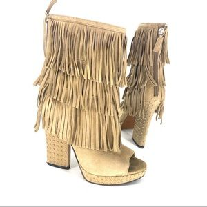 ENZO Suede fringe studded wedge heel ankle boots
